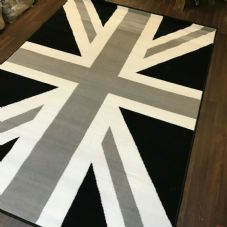 Rugs Approx 6x4ft 120x170cm Woven Backed Union Jack Black-Grey-Silver rugs Mats